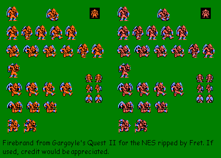 Nes Gargoyle S Quest 2 Red Arremer 2 Firebrand The Spriters Resource