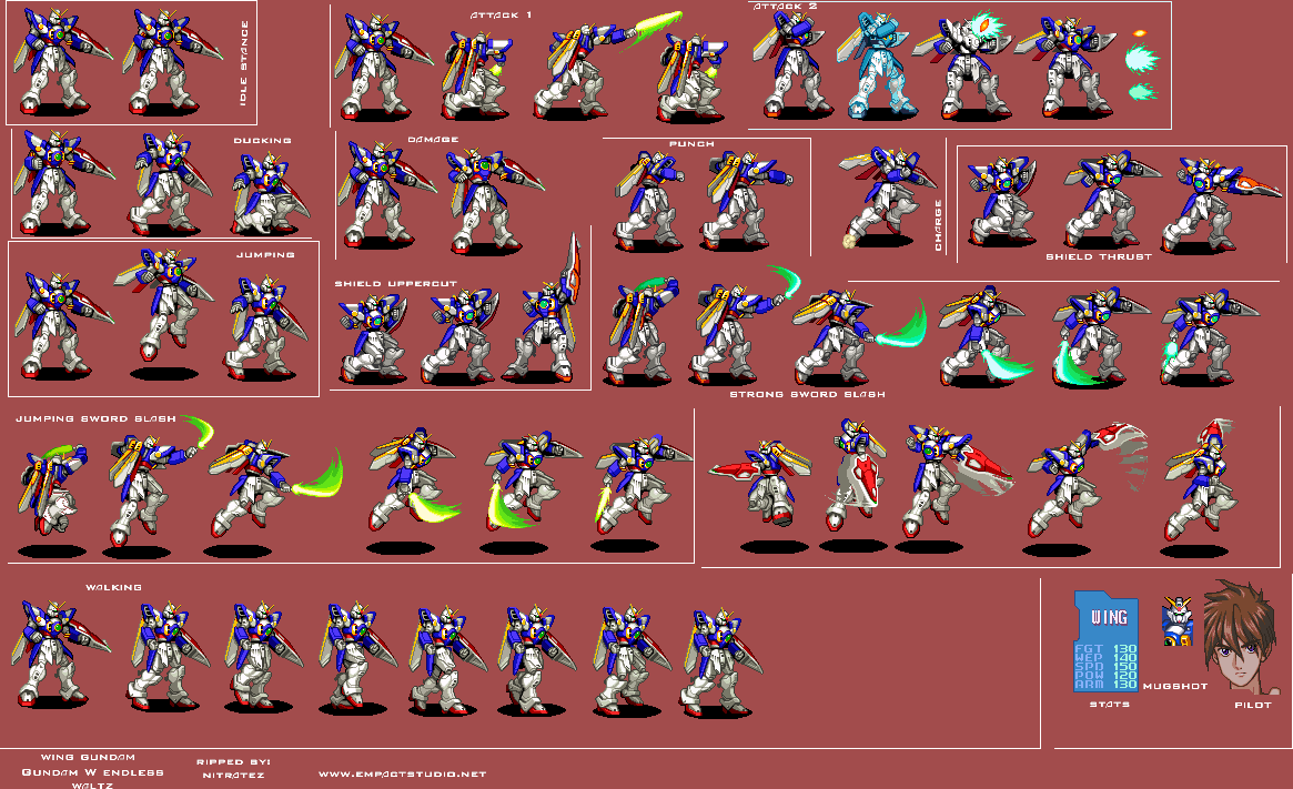 Snes Gundam Wing Endless Duel Jpn Xxxg 01w Wing Gundam The Spriters Resource