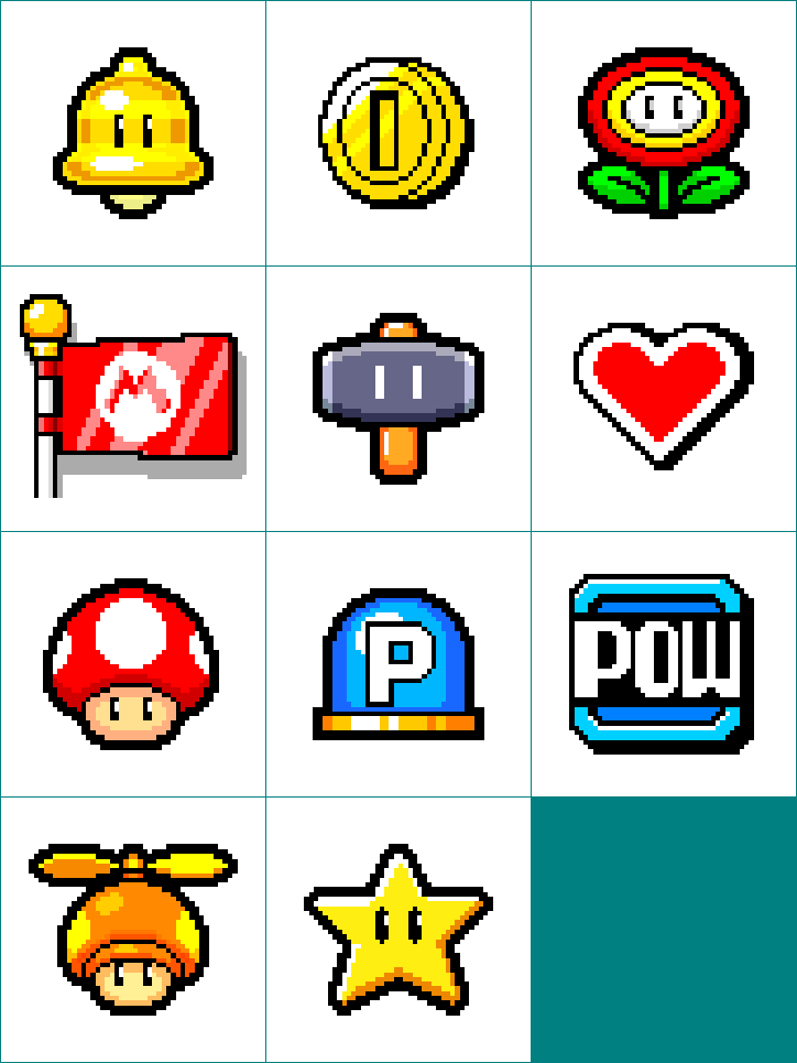 Mario's Chest Power-Ups Icons