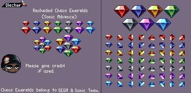Chaos Emeralds (Sonic Advance, Re-Shaded)