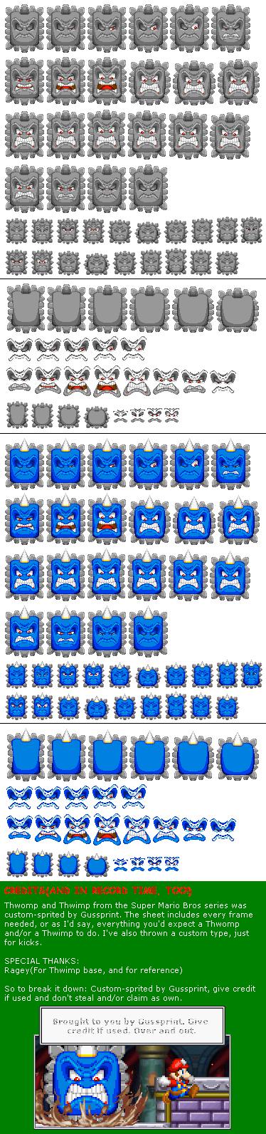 Custom Edited Mario Customs Thwomp The Spriters Resource