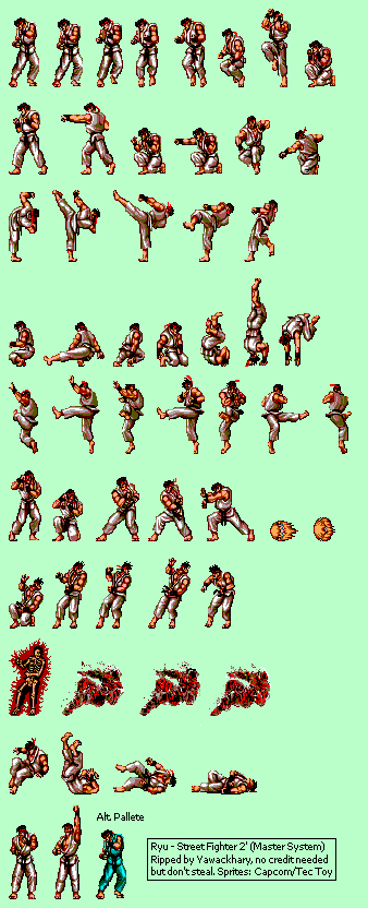master system - street fighter 2  brz  - ryu
