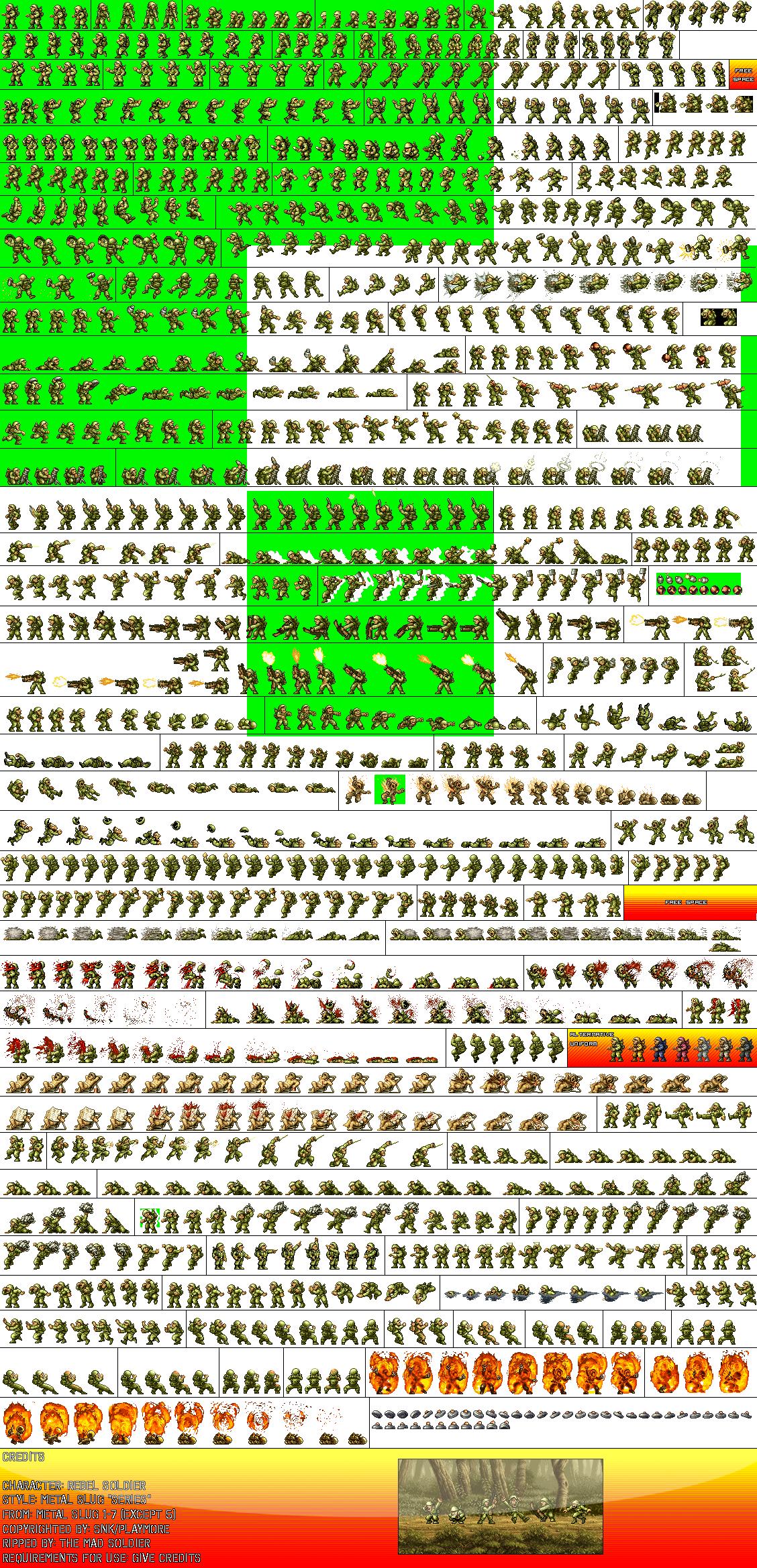 Arcade - Metal Slug 4 - Rebel Soldier - The Spriters Resource