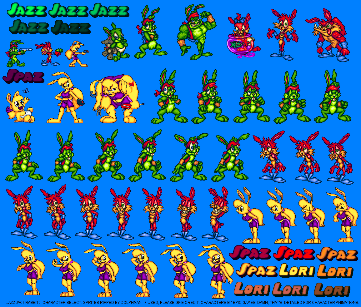 Jazz Jackrabbit 2 - Miscellaneous - Character Select