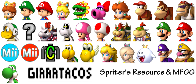 Wii mario kart wii character icons the spriters resource - Mario kart wii personnages et vehicules ...