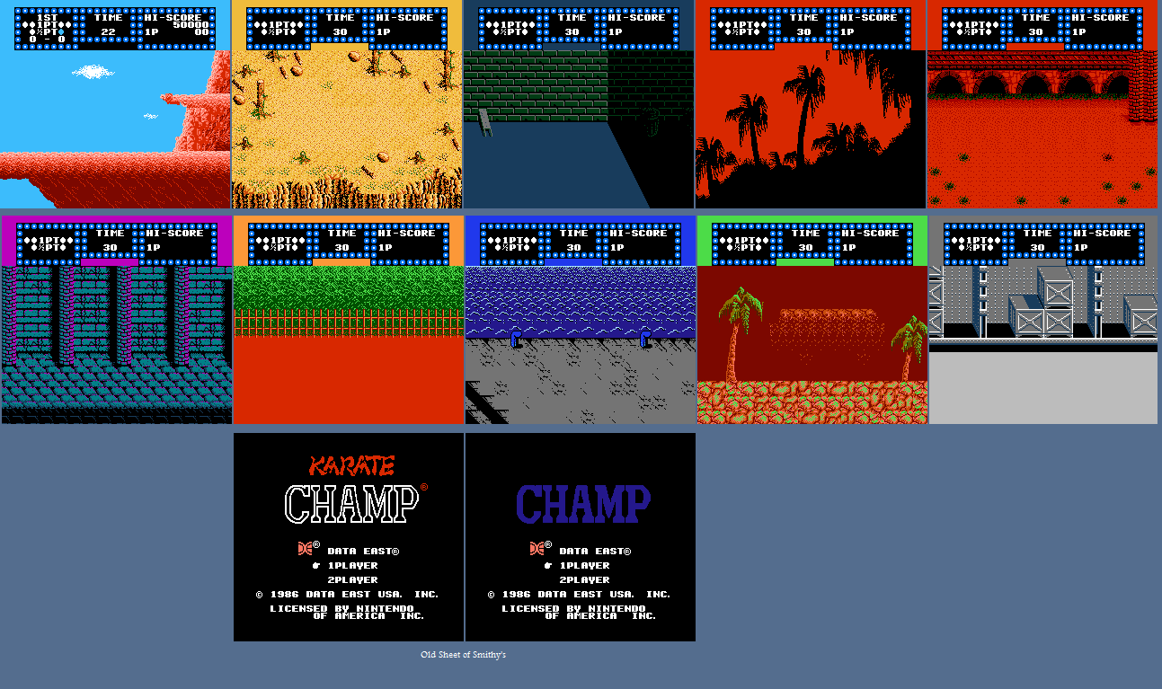 Karate Champ - Backgrounds and Title Screen