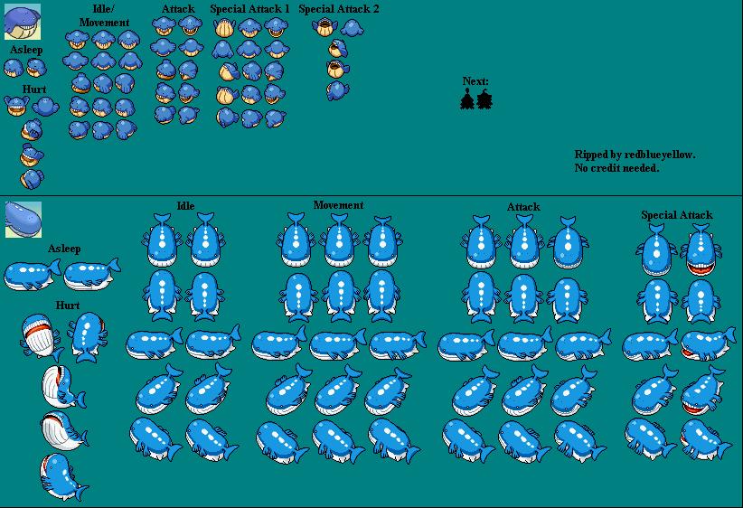 DS / DSi - Pokémon Mystery Dungeon: Explorers of Time ... Wailmer Sprite