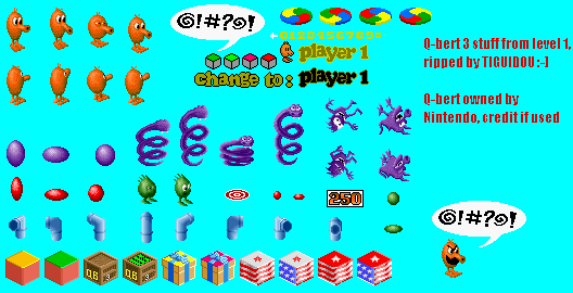 SNES - Q*Bert 3 - Level 1 Sprites - The Spriters Resource