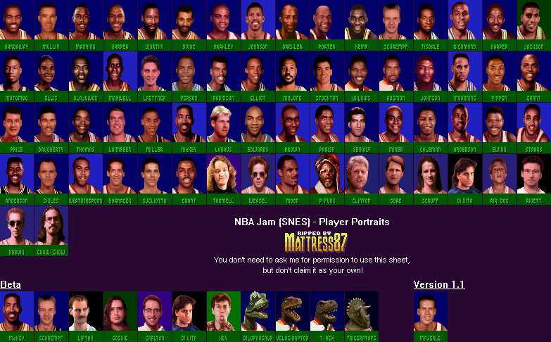 The Spriters Resource Full Sheet View Nba Jam Portraits