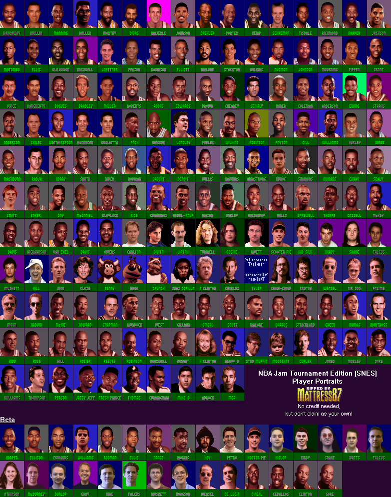 The Spriters Resource Full Sheet View Nba Jam Tournament Edition Portraits