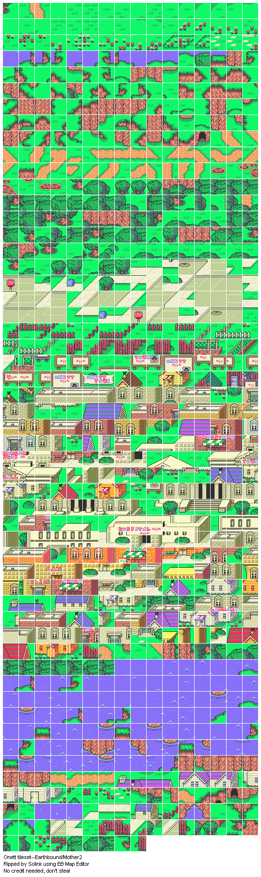 Super Adventure R >> SNES - Earthbound / Mother 2 - Onett Tileset - The Spriters Resource