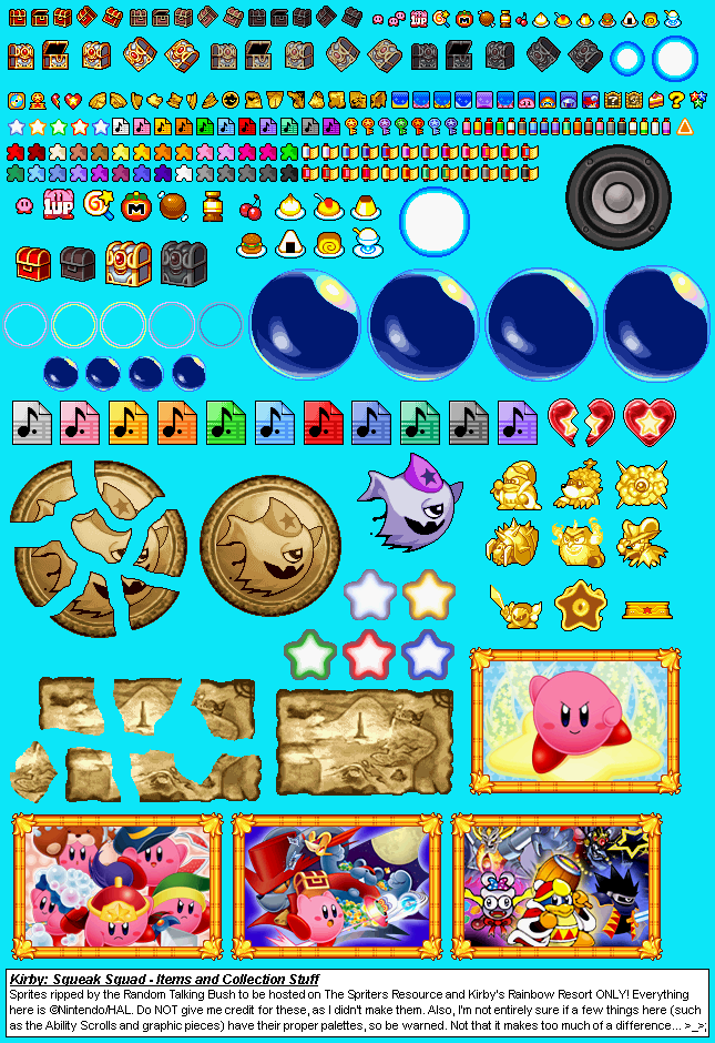 The Spriters Resource Full Sheet View Kirby Squeak Squad Items