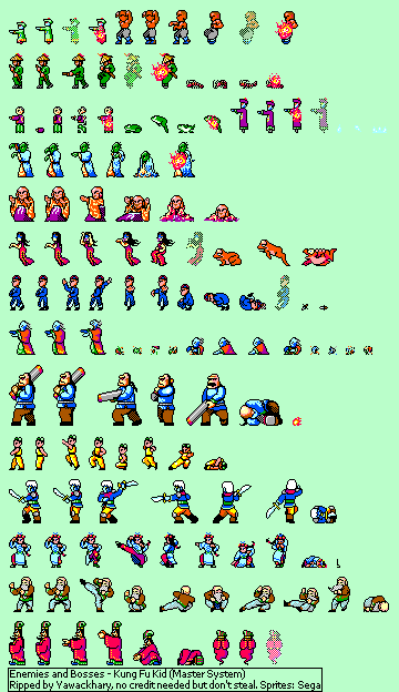 Master System Kung Fu Kid Enemies And Bosses The