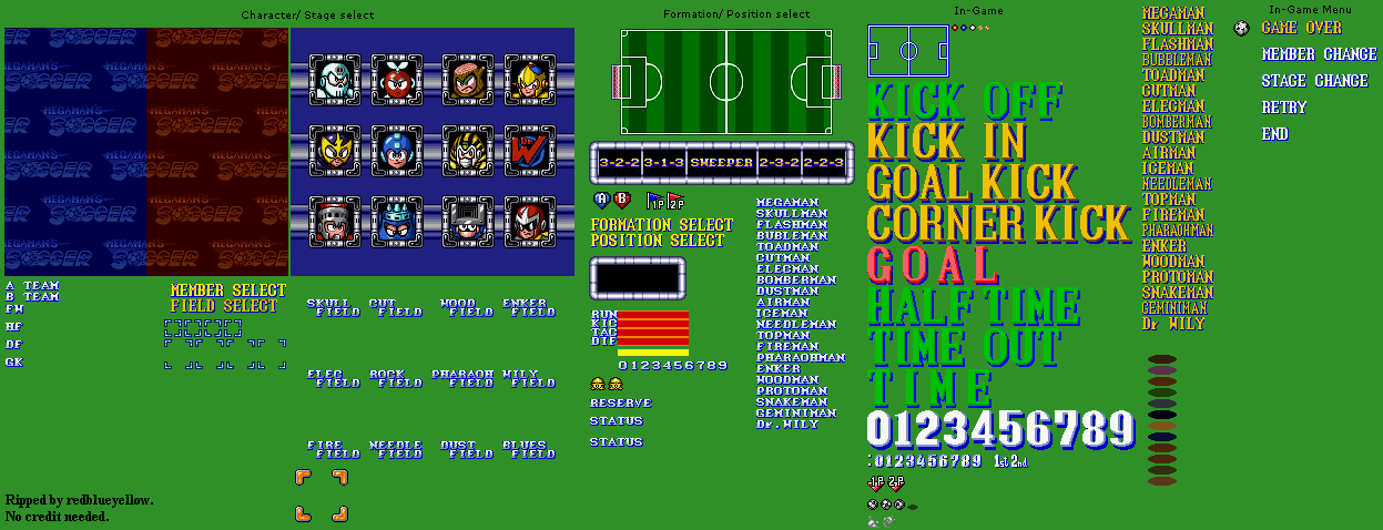 snes mega man soccer general sprites the spriters