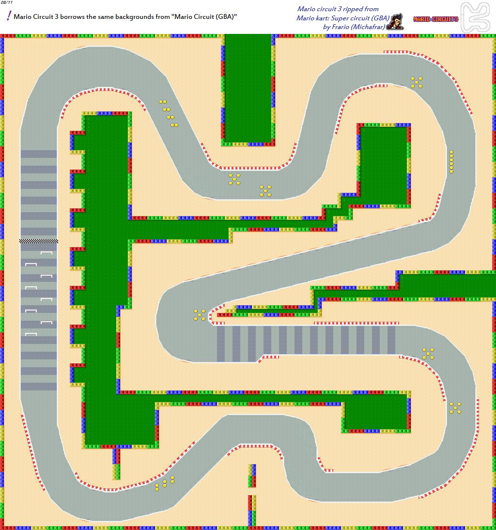 game boy advance mario kart super circuit mario circuit 3 the spriters resource. Black Bedroom Furniture Sets. Home Design Ideas