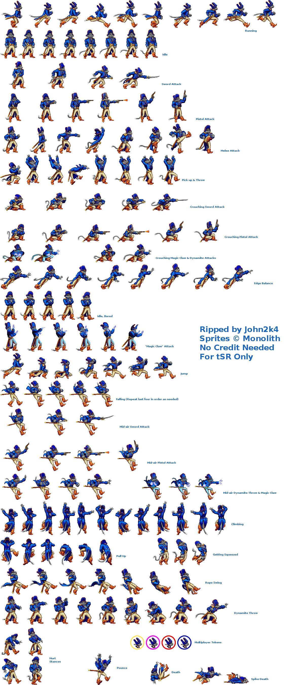 Captain Claw Sprite Sheet Character Sprites Mugen