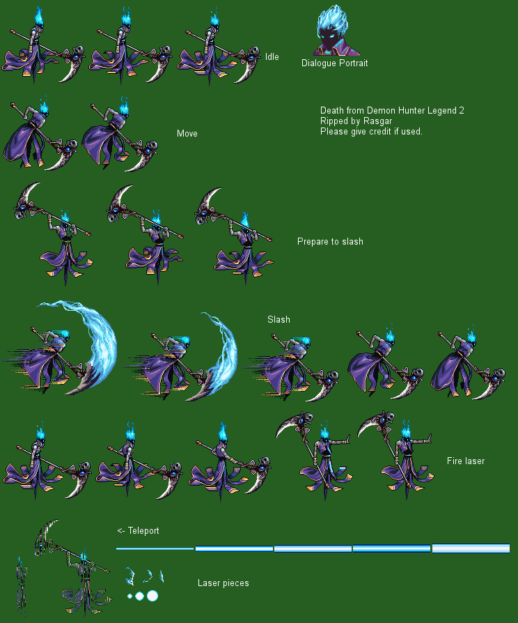 The Spriters Resource Full Sheet View Demon Hunter Legend 2 Death