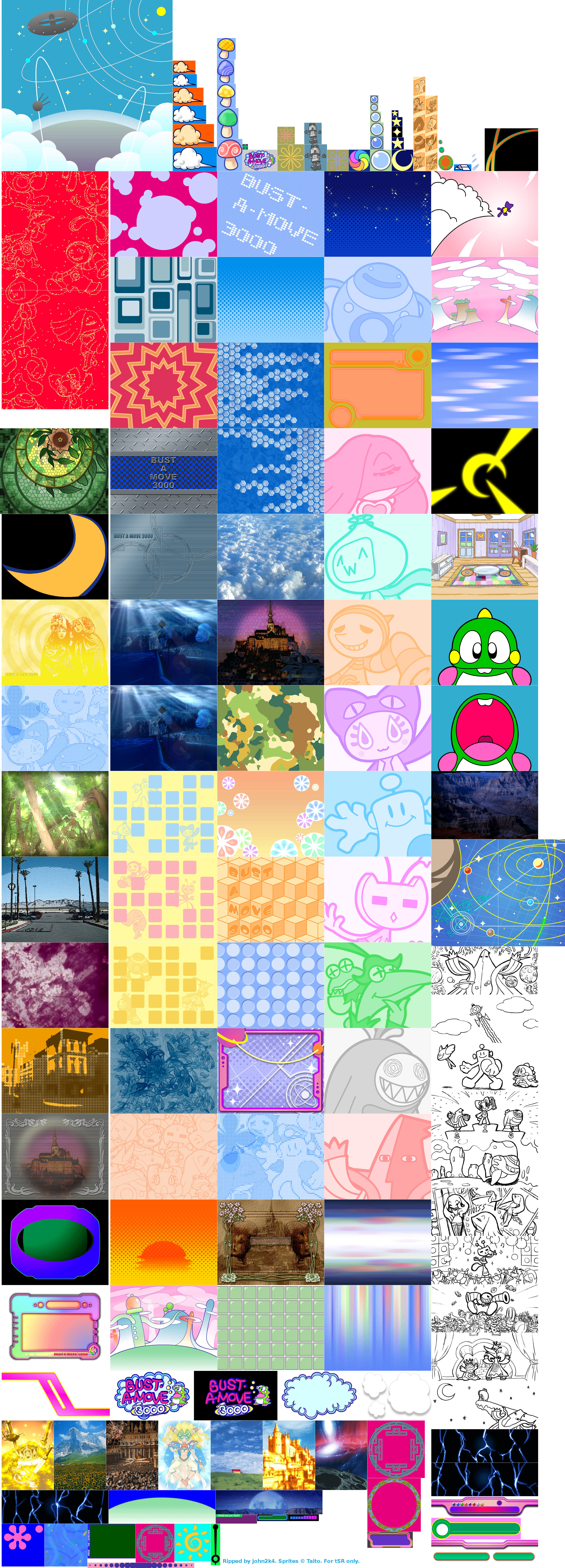 The Spriters Resource Full Sheet View Bust A Move 3000 Super Puzzle Bobble All Stars
