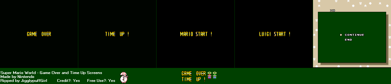 Game Over, Time Up & Start Screens