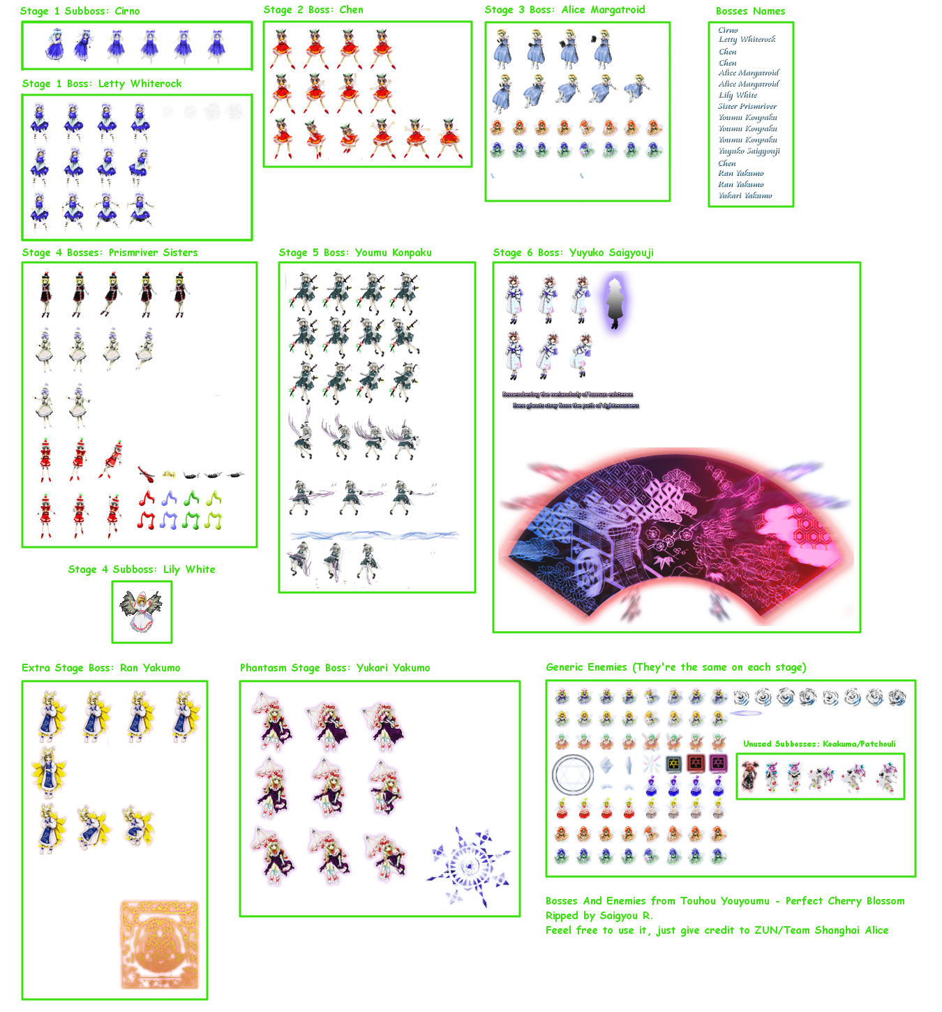 The Spriters Resource Full Sheet View Touhou Youyoumu Perfect Cherry Blossom Enemies