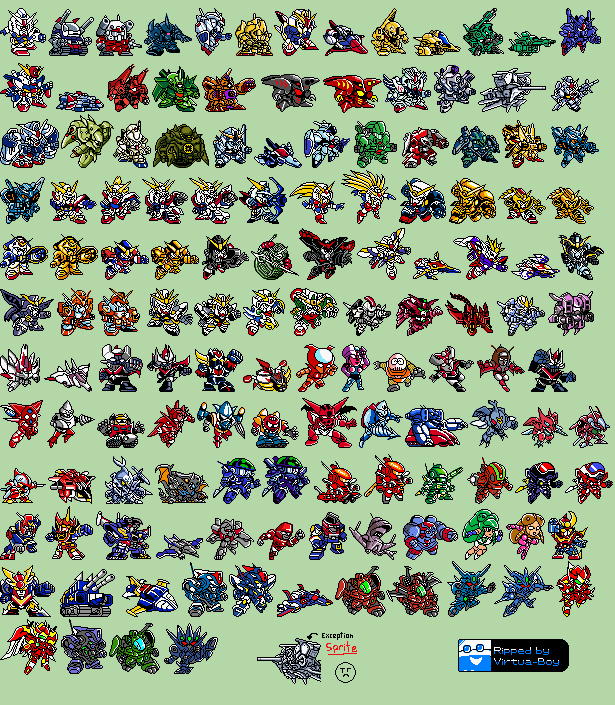 The Spriters Resource Full Sheet View Super Robot Wars Link Battler Robots