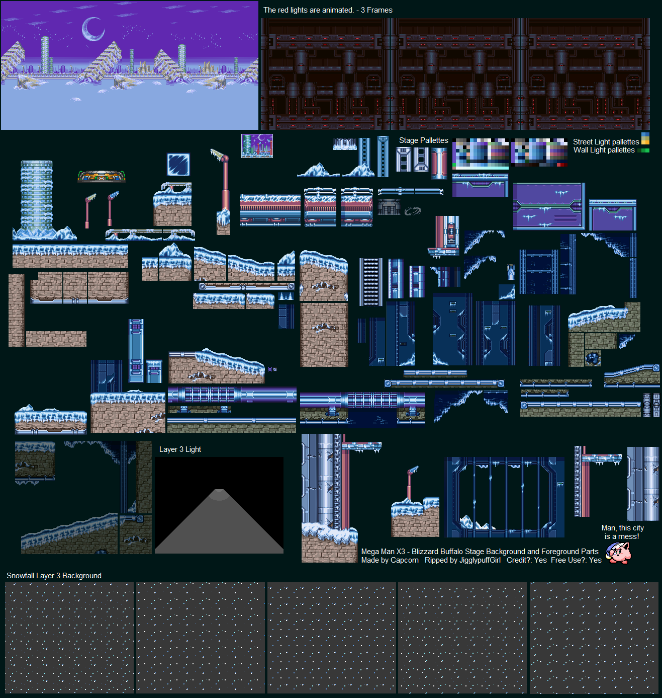 SNES - Mega Man X3 - Blizzard Buffalo Tileset - The Spriters Resource