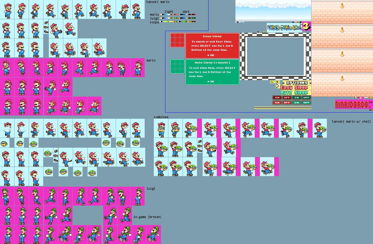 Game Boy Advance Super Mario Advance 4 Super Mario Bros 3 Game Select The Spriters Resource