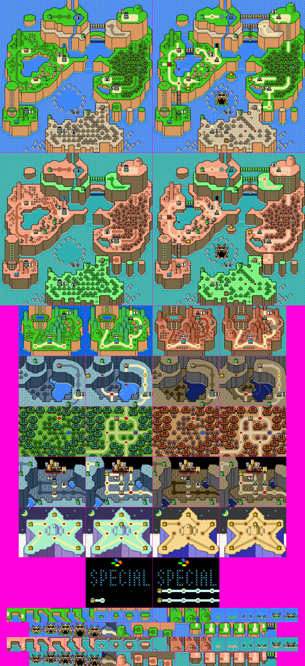 SNES - Super Mario World - World Map - The Spriters Resource