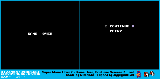 Game Over, Continue Screens & Game Text
