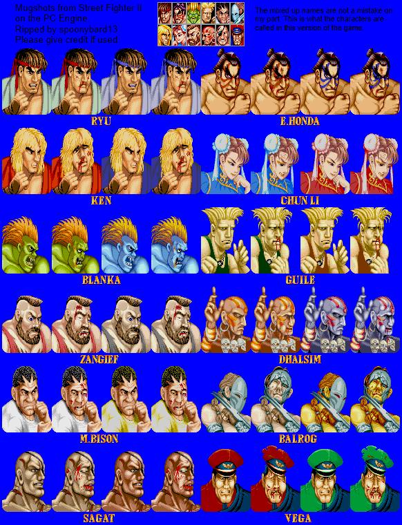 Turbografx 16 Street Fighter 2 Mugshots The Spriters Resource