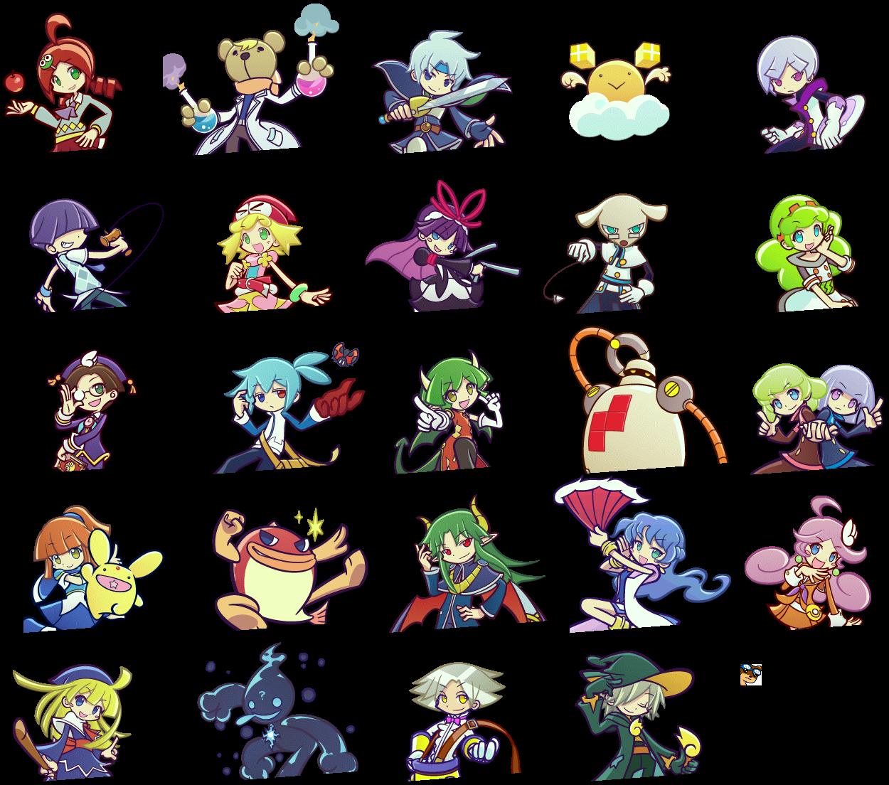The Spriters Resource Full Sheet View Puyo Puyo Tetris Mugshots