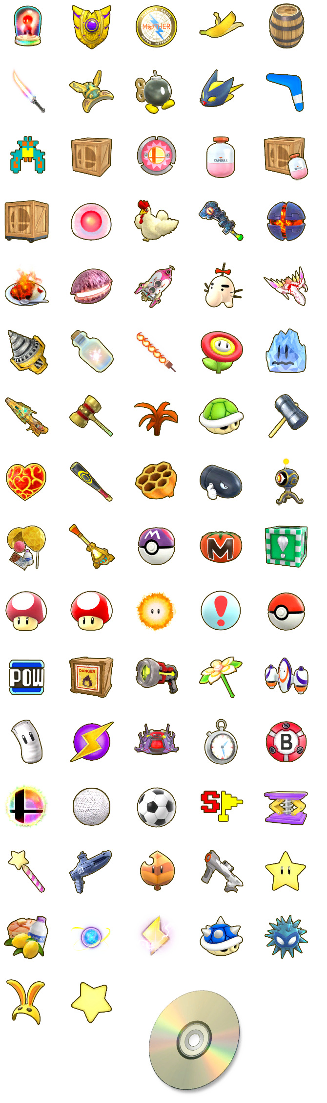 Super Smash Bros. for Wii U - Item Icons