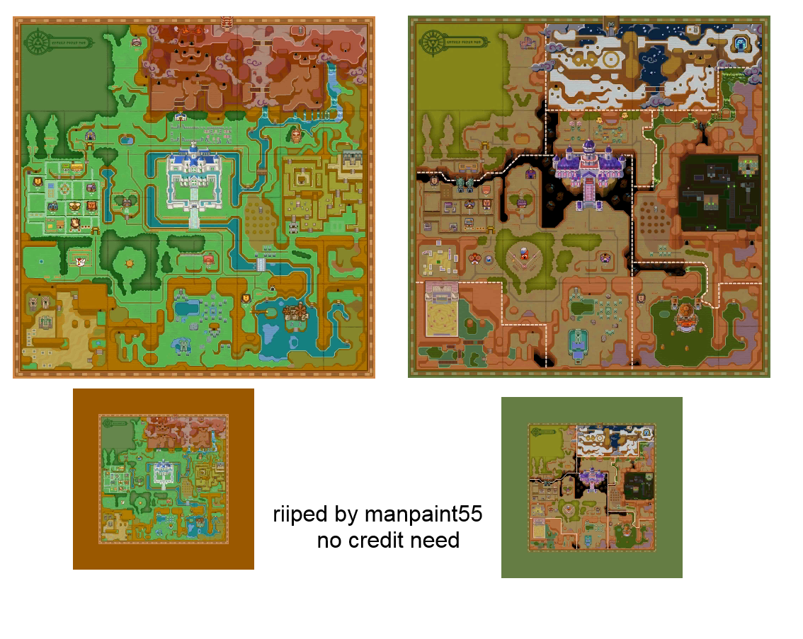 3ds The Legend Of Zelda A Link Between Worlds Hyrule And Lorule Maps The Spriters Resource