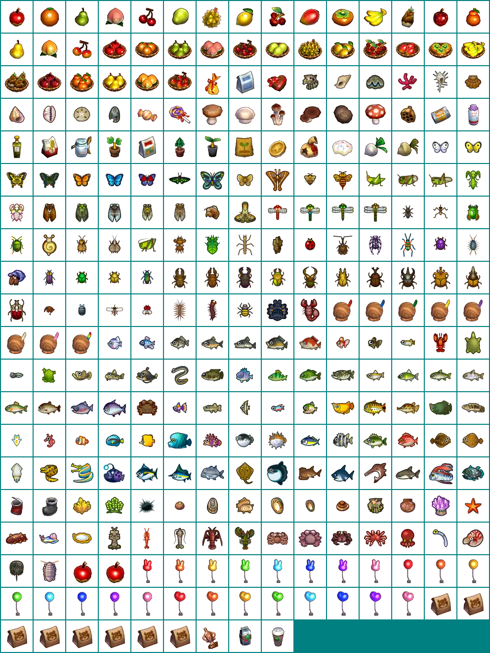 The Spriters Resource - Full Sheet View - Animal Crossing: Happy Home Designer - Collectables Icons