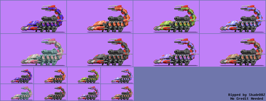 The Spriters Resource Full Sheet View Zoids Saga Ds Legend Of Arcadia Death Stinger