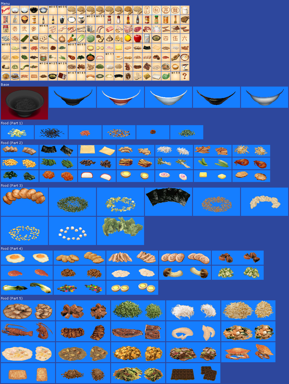 The spriters resource full sheet view charumera food for Cuisine resources