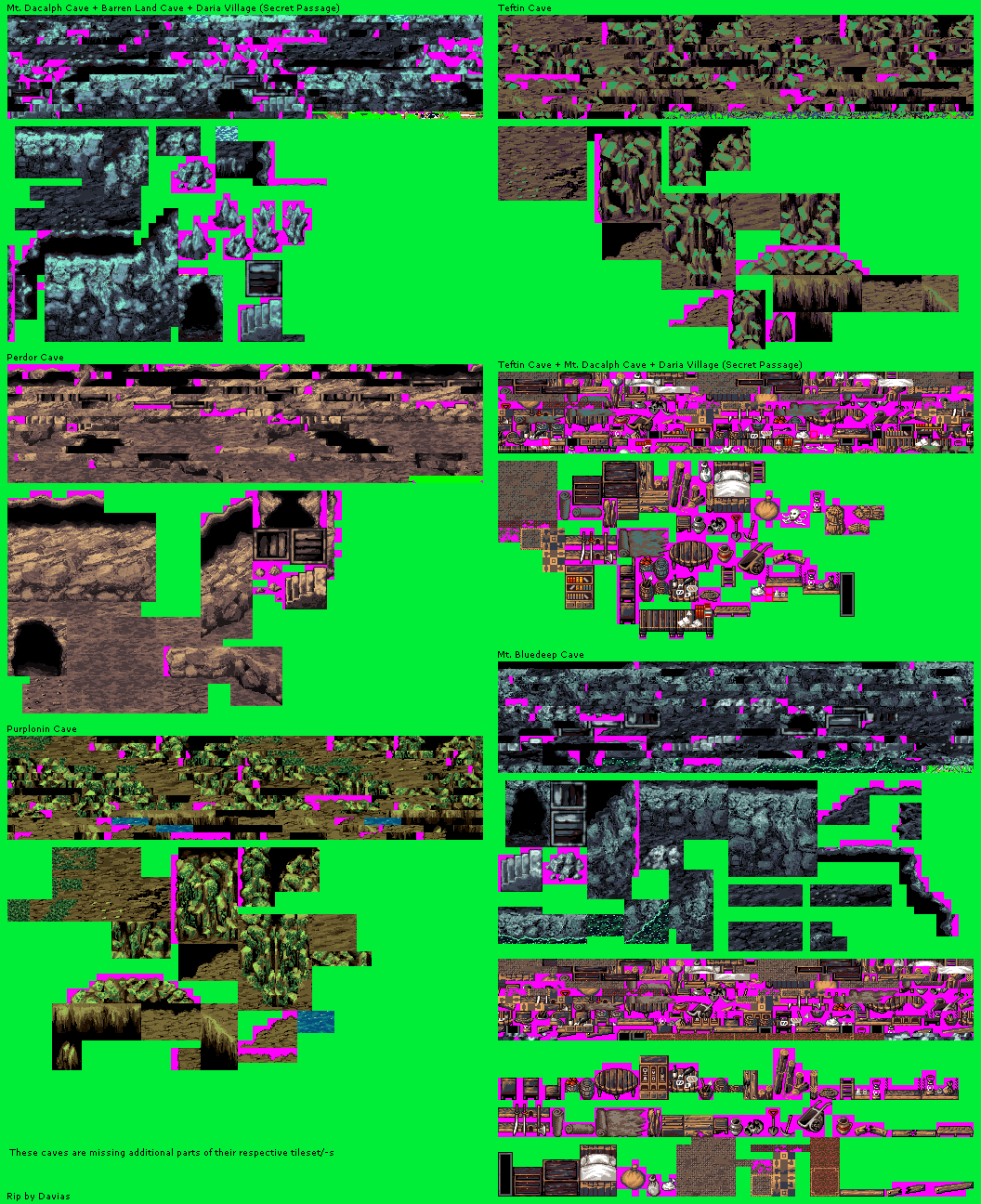 Miscellaneous Cave Tilesets (incomplete)