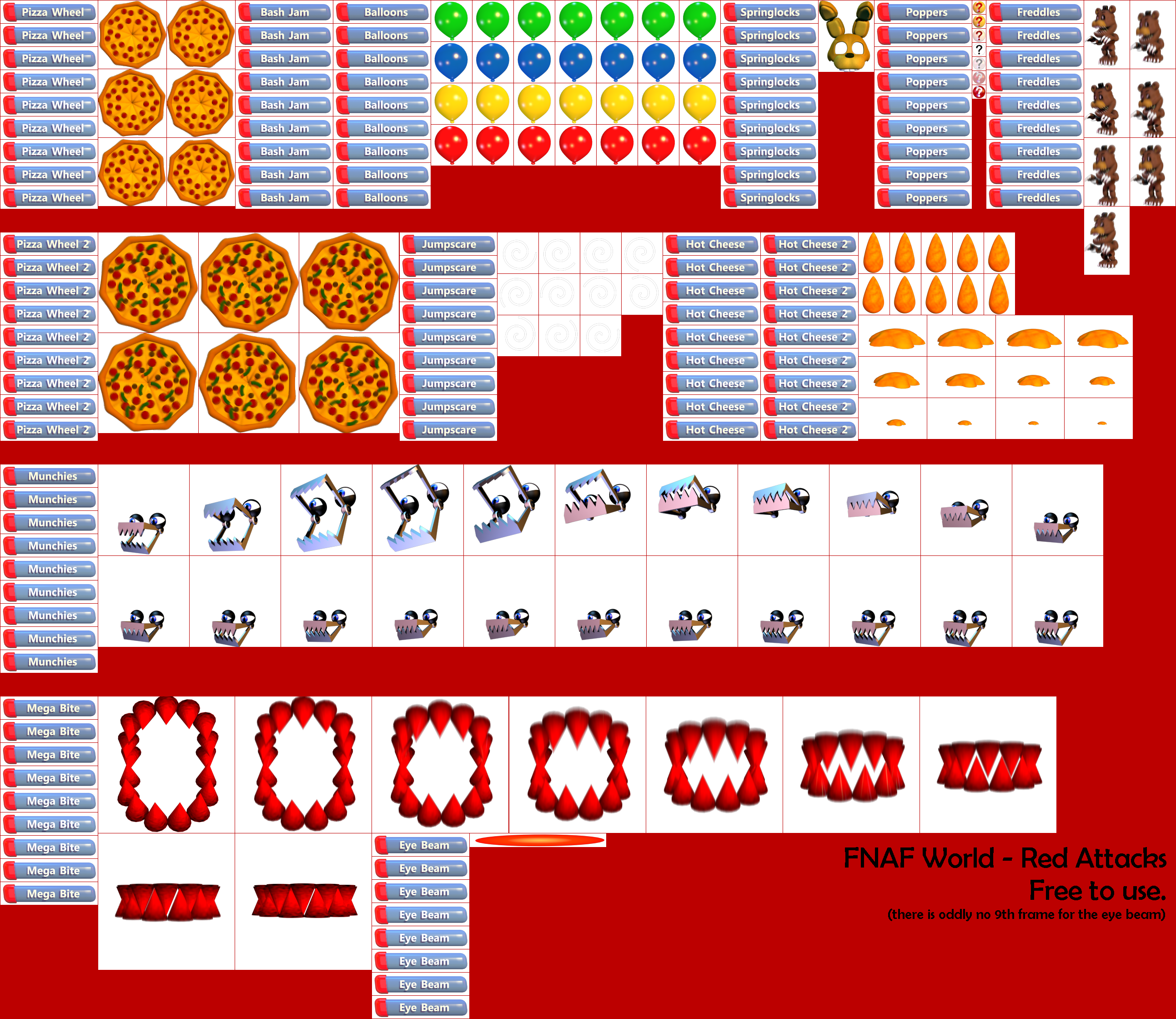 The spriters resource full sheet view fnaf world red attacks