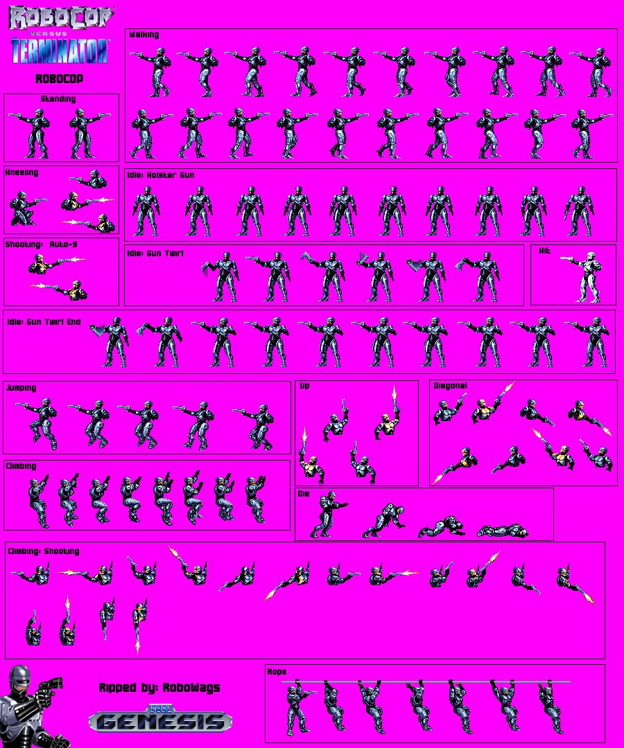 The Spriters Resource Full Sheet View Robocop Vs The Terminator Robocop