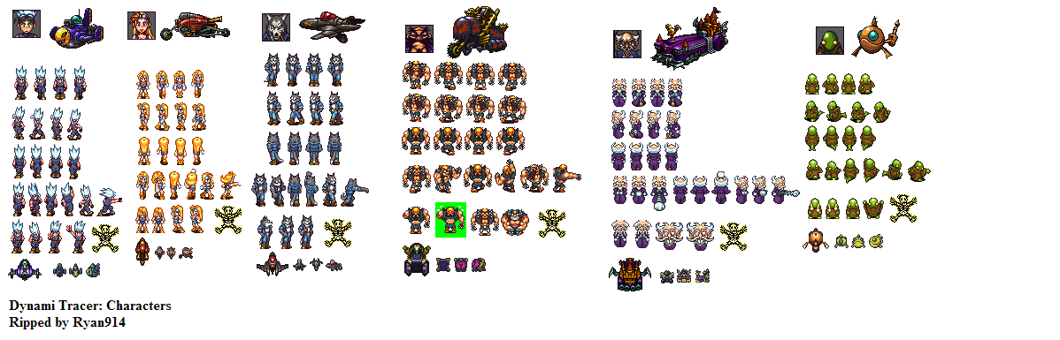 The Spriters Resource Full Sheet View Dynami Tracer Jpn Characters