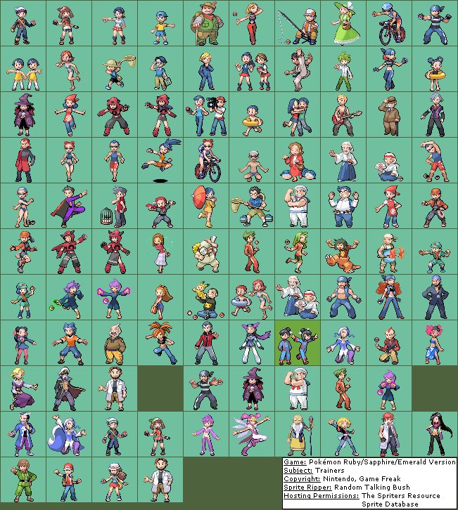 Game Boy Advance Pokémon Ruby Sapphire Trainers The Spriters
