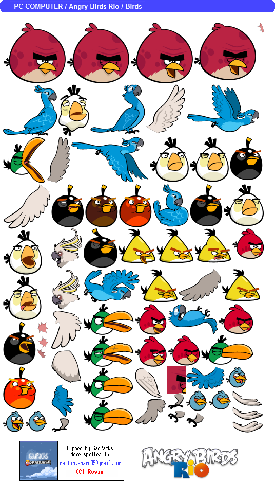 Pc computer angry birds rio birds the spriters - Angry birds trio ...
