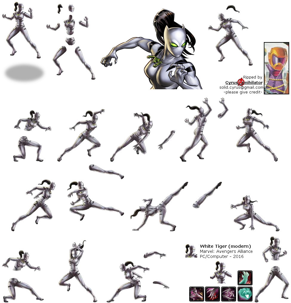 The Spriters Resource Full Sheet View Marvel Avengers Alliance White Tiger Modern
