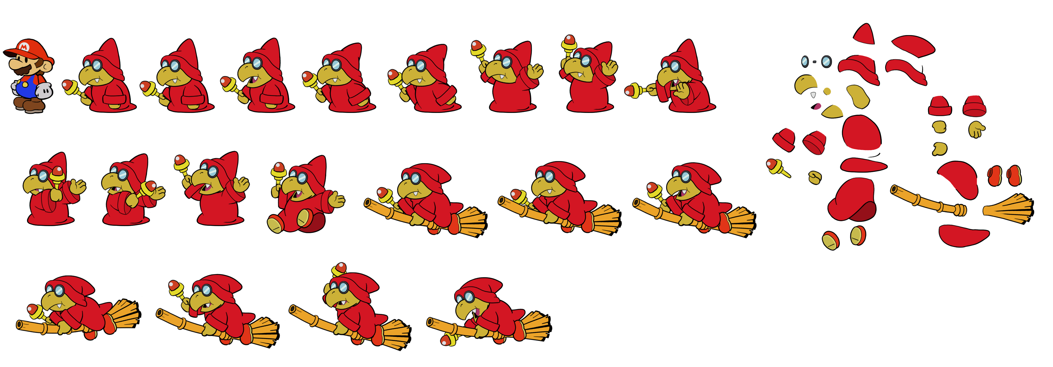 Magikoopa (Red, Paper Mario Style)